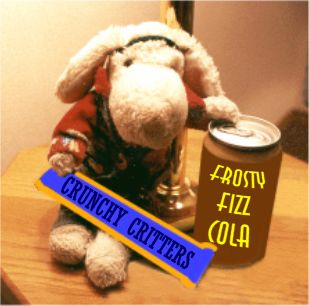 Photo of Sparky with a Frosty Fizz Cola and Crunchy Critters Candy Bar