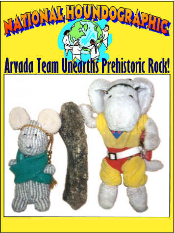 Sparky and Sniffy on the cover of National Houndographic Magazine showing off the Prehistoric Rock they found in the back yard.